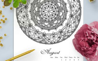 Hattifant's Mandalandar 2017 a Mandala Calendar Coloring Page to download for free during August