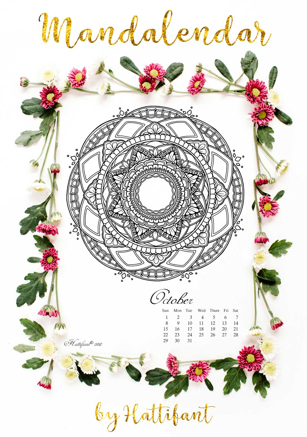 Hattifant's Mandalandar 2017 a Mandala Calendar Coloring Page to download for free during October