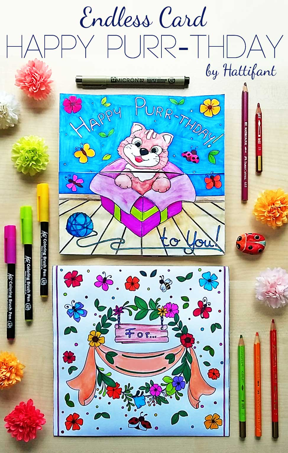 Hattifant's Endless Card Purr-thday Card and Purrfect Gift Card