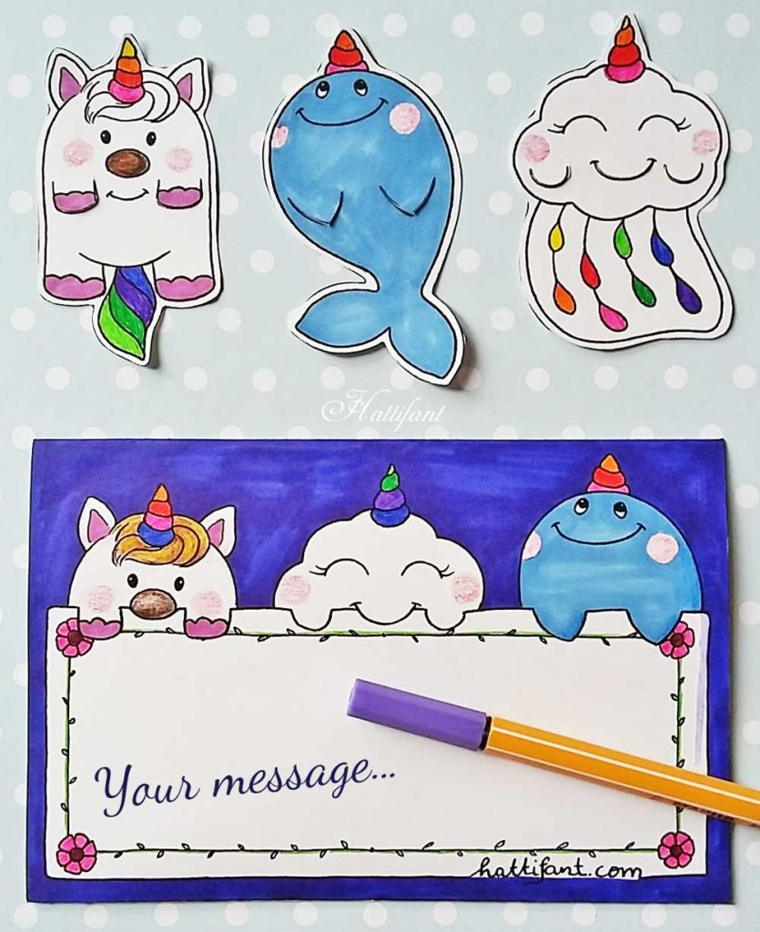 Hattifant's cute unicorn whale and cloud bookmarks coloring papercraft to DIY