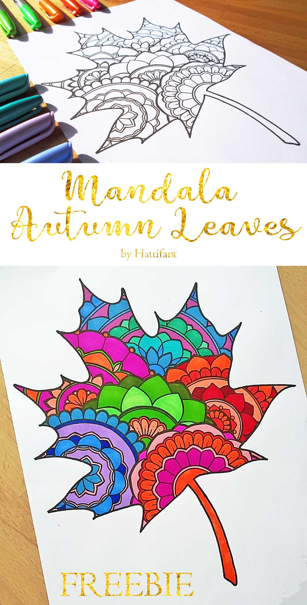 Hattifant's Mandala Autumn Leaves Sun Catcher Papercraft Freebie