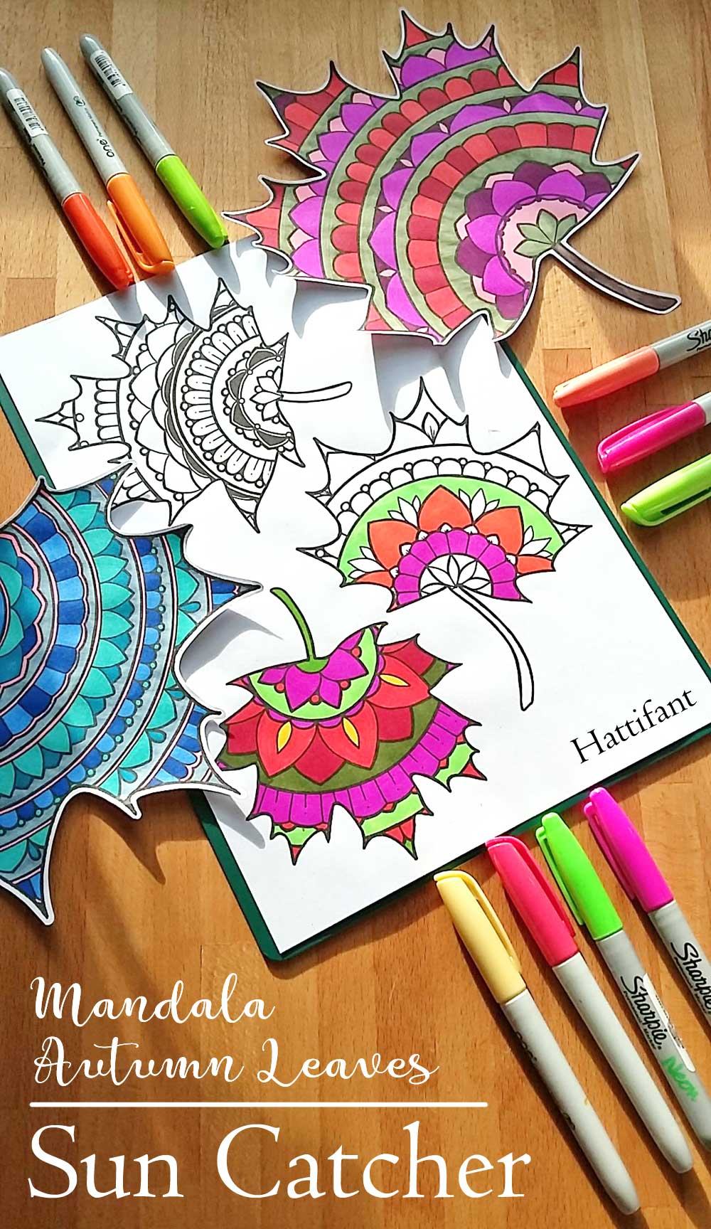 Hattifant's Mandala Autumn Leaves Sun Catcher Papercraft
