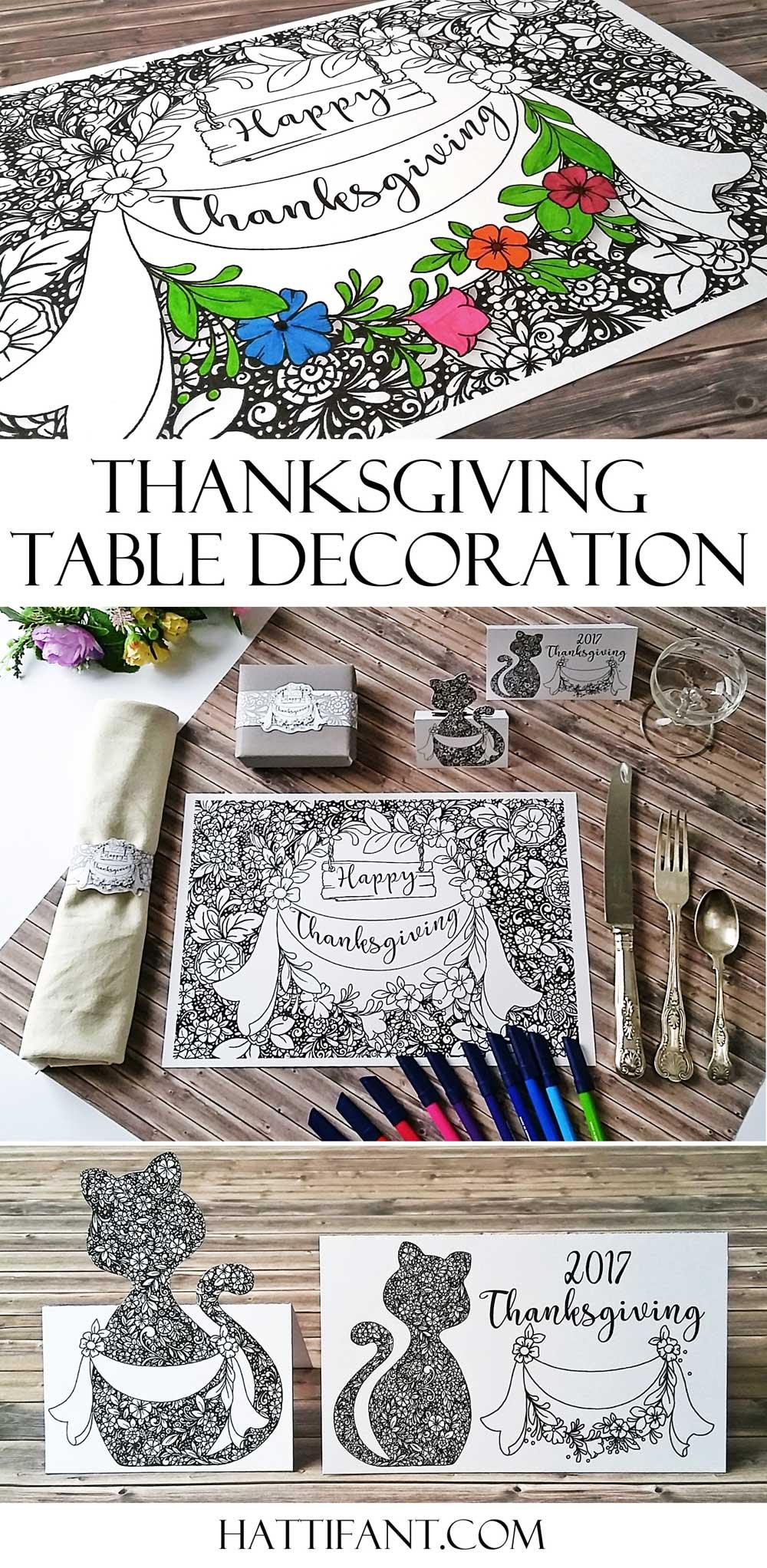 Hattifant's Thanksgiving Table Decoration Flower Doodle Cat Printables