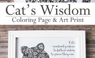 Hattifant Cat Wisdom Coloring Page and Art Print
