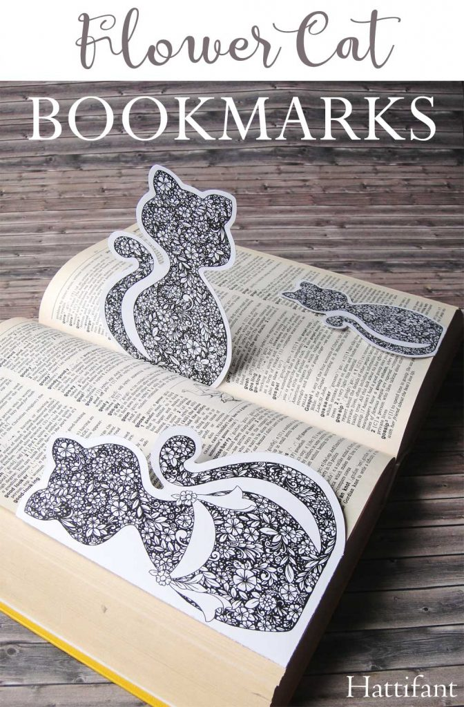 Hattifant Flower Cat Bookmark Series Corner Bookmark Magnetic Coloring Page