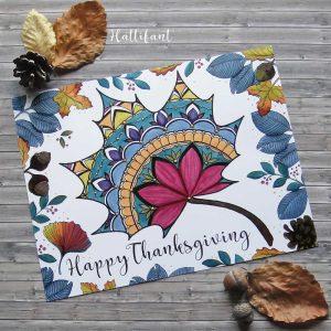 Hattifant's Thanksgiving Mandala Autumn Leaf Coloring Page Printable