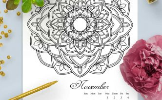 Hattifant's Mandalandar 2017 a Mandala Calendar Coloring Page to download for free during November