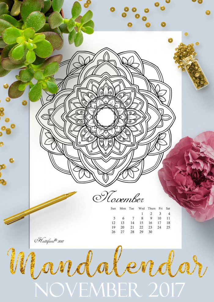 Hattifant's Mandalandar 2017 a Mandala Calendar Coloring Page to download for free during November