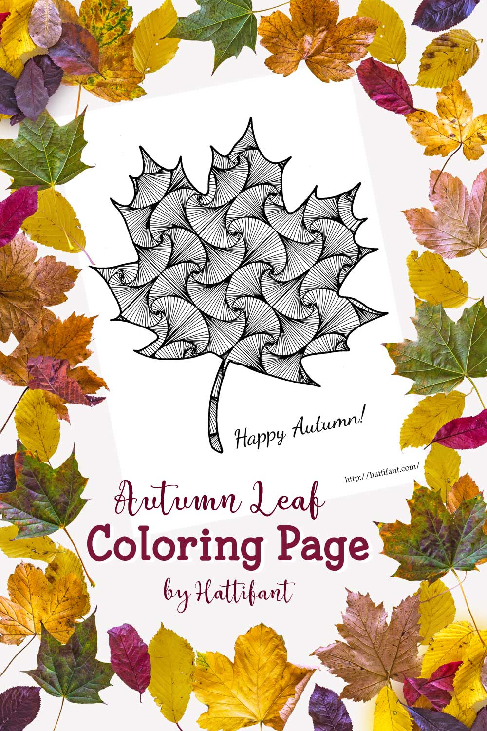 Autumn Leaf Coloring Page - Hattifant