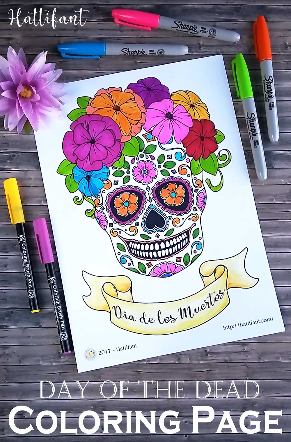 Hattifant's Day of the Dead Sugar Skull Coloring Page