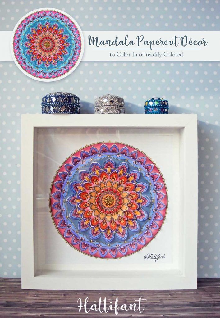 Hattifant's Home Decor Mandala Papercut to Color In or readily in Color