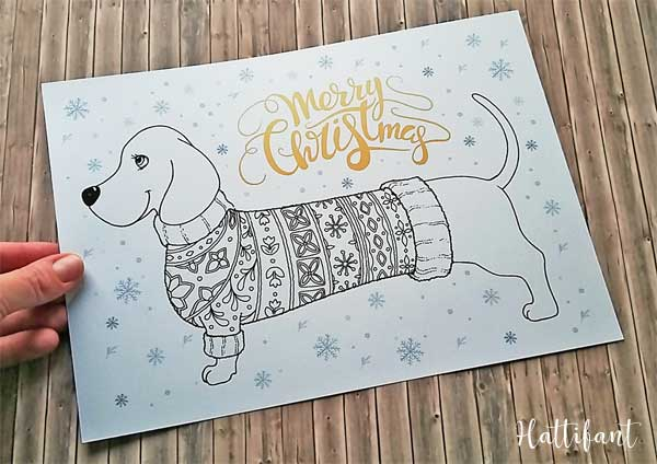 Dog Coloring Pages | Printable Dachshund dog coloring page sheet ... | 424x600