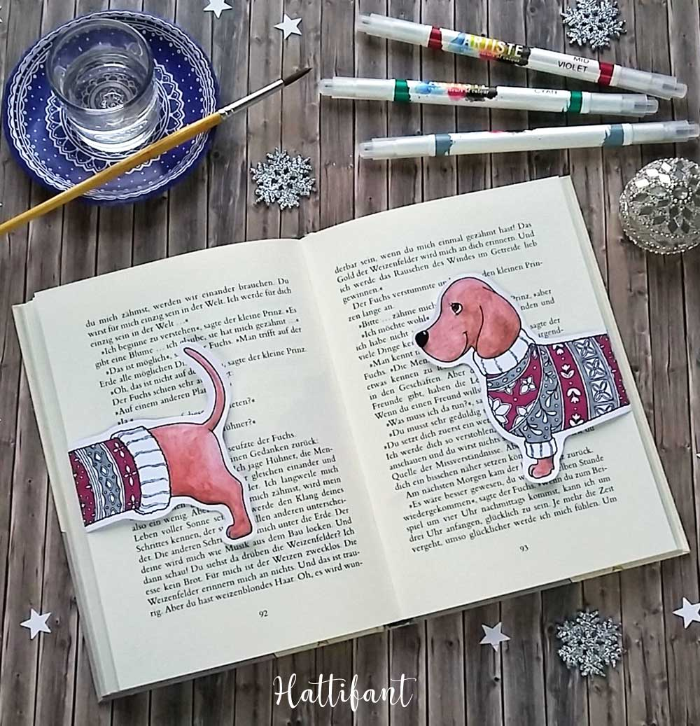 Hattifants Dachshund Coloring Papercraft And Bookmark