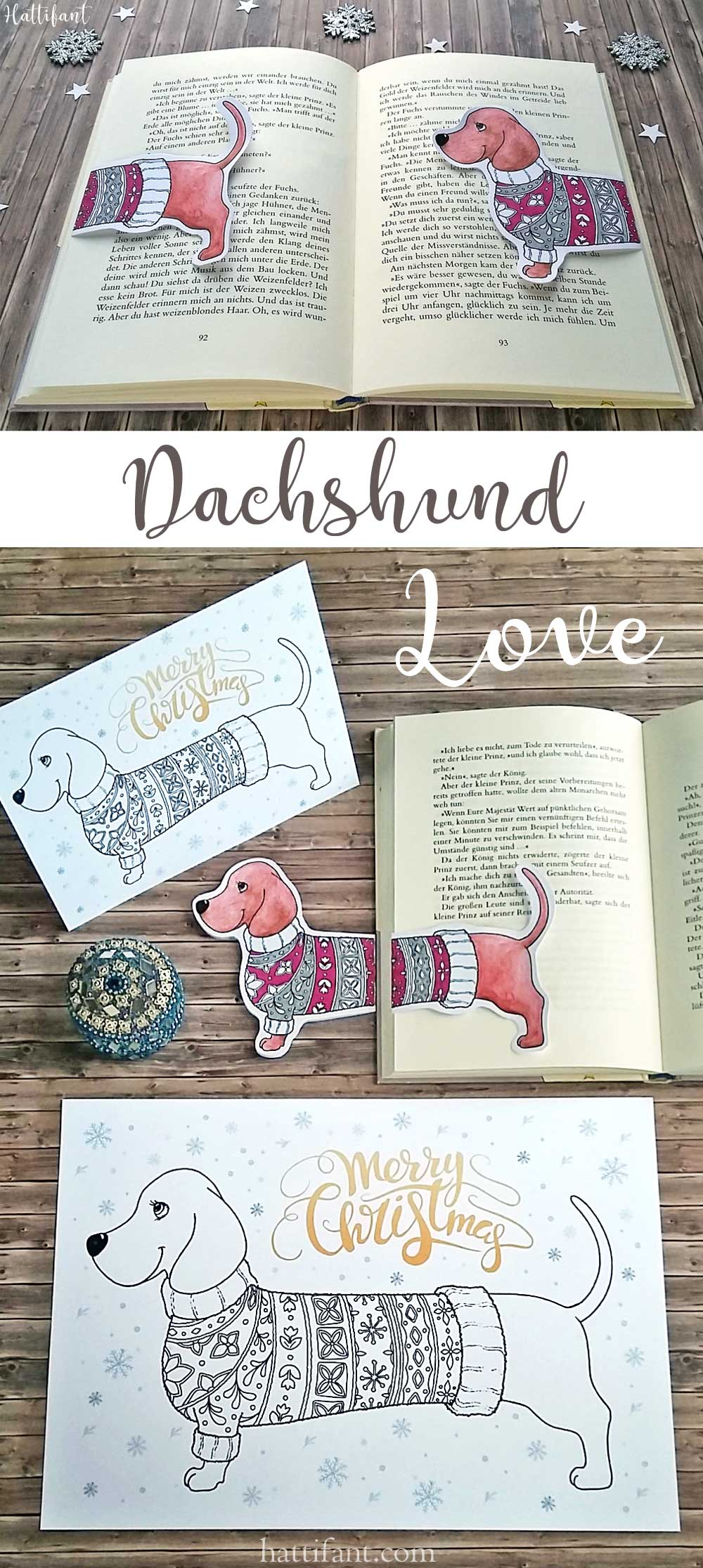 Hattifant's Dachshund Coloring Papercraft and bookmark