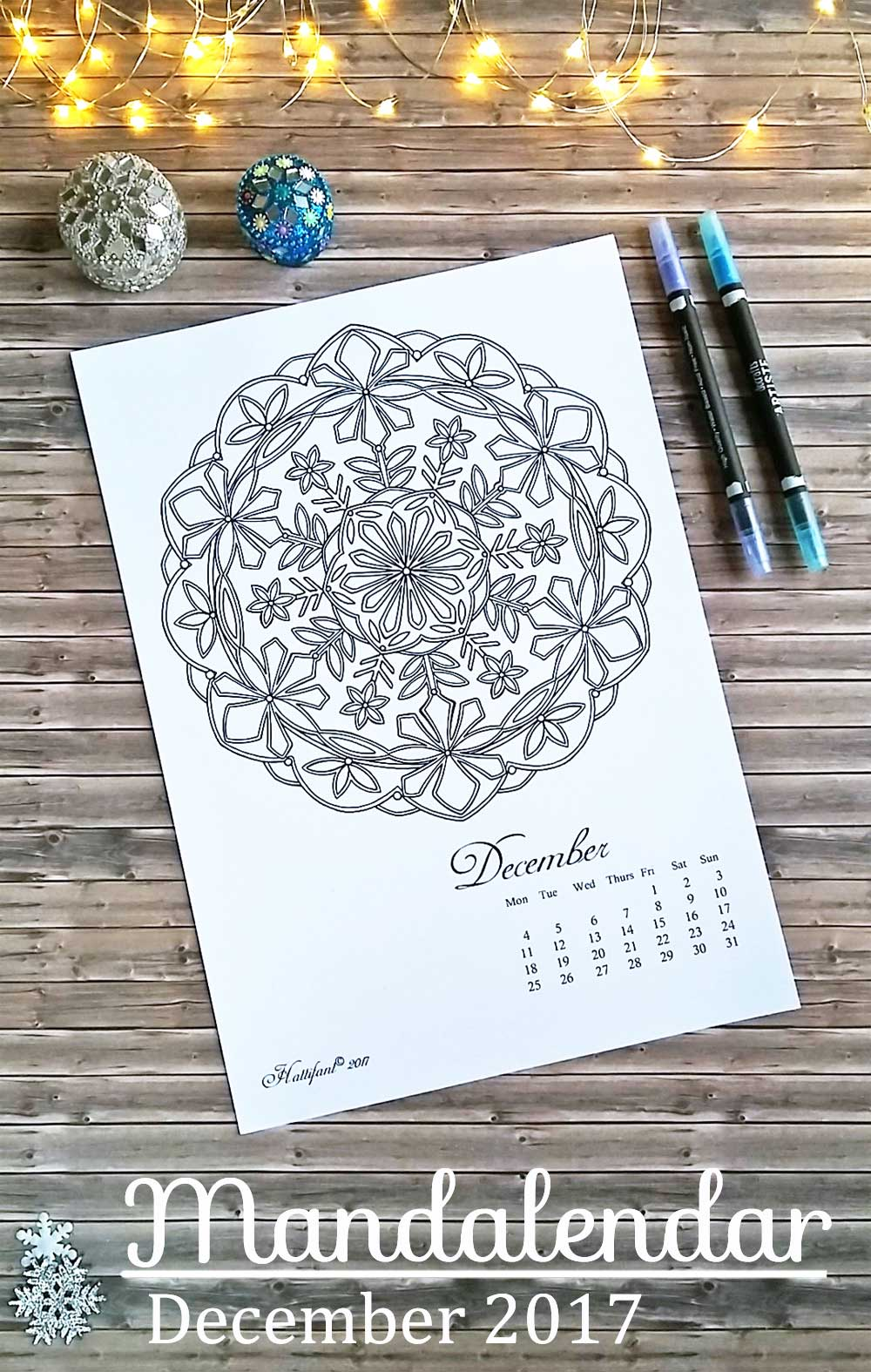 Hattifant's Mandalandar 2017 a Mandala Calendar Coloring Page to download for free during December