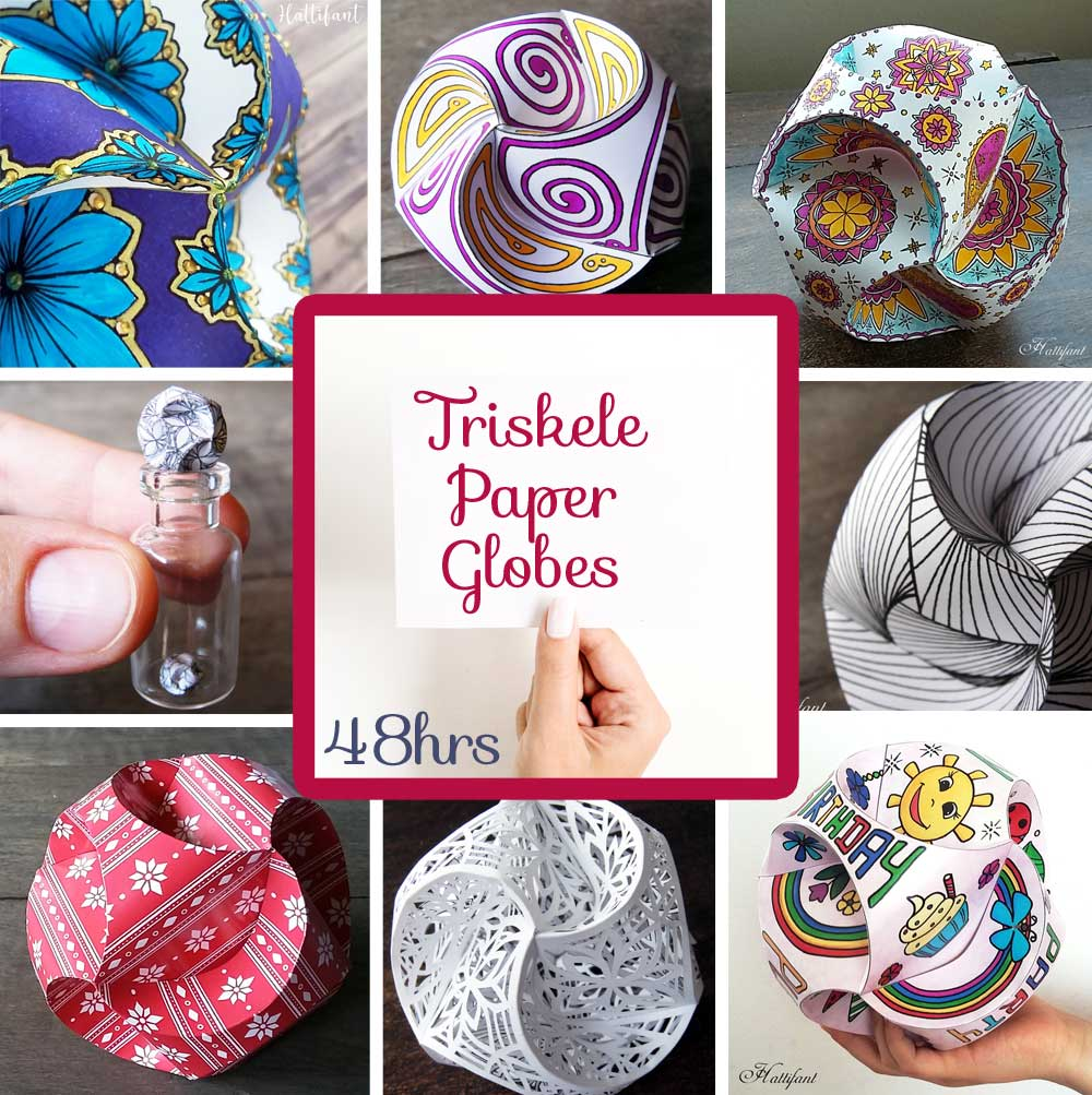 Hattifant's Flash Sale for 14 Papercrafts and Coloring Pages 55% off Triskele Paper Globes