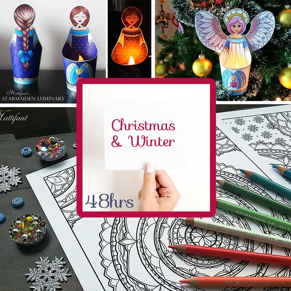 Hattifant's Flash Sale for 14 Papercrafts and Coloring Pages 55% off Angel Starmaiden Luminary