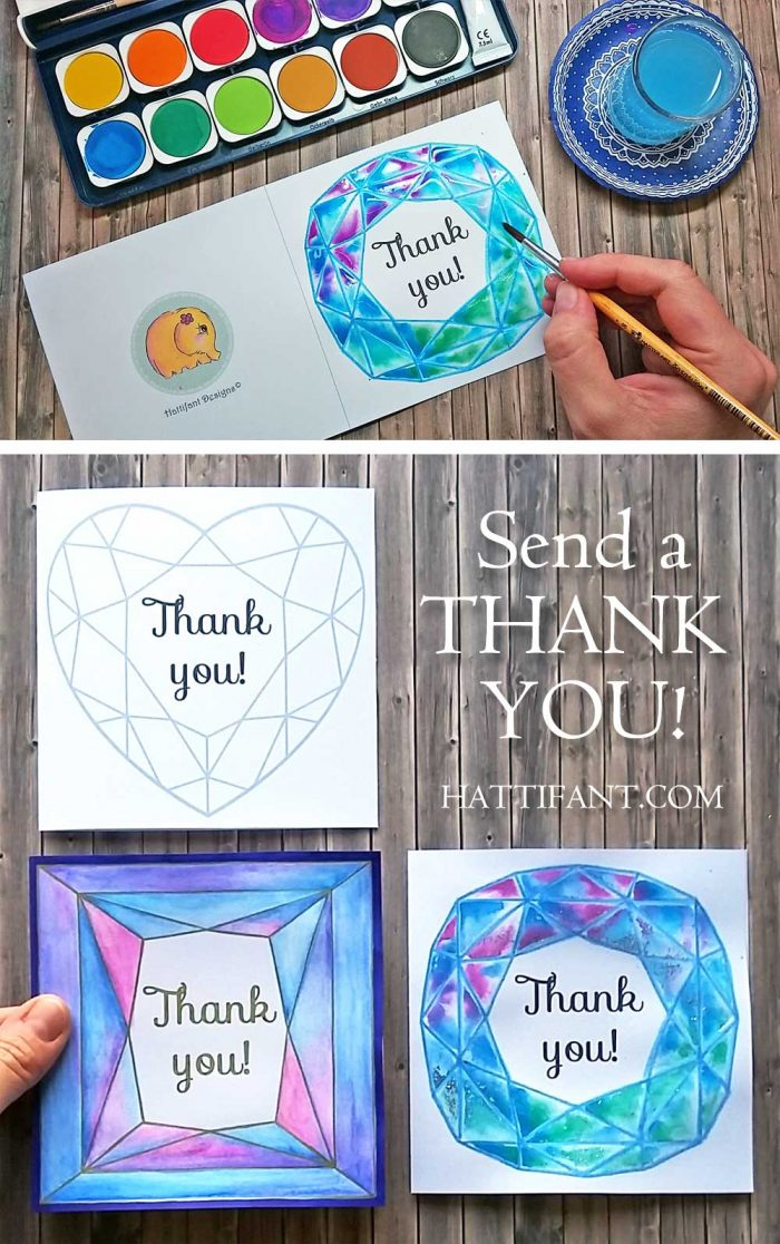 Hattifant's Thank You with Jewels Cards to print and color