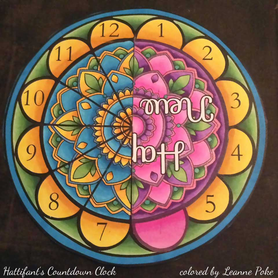 Hattifant's New Year Countdown Clock Paper and Coloring Craft colored by artist Leanne Poke