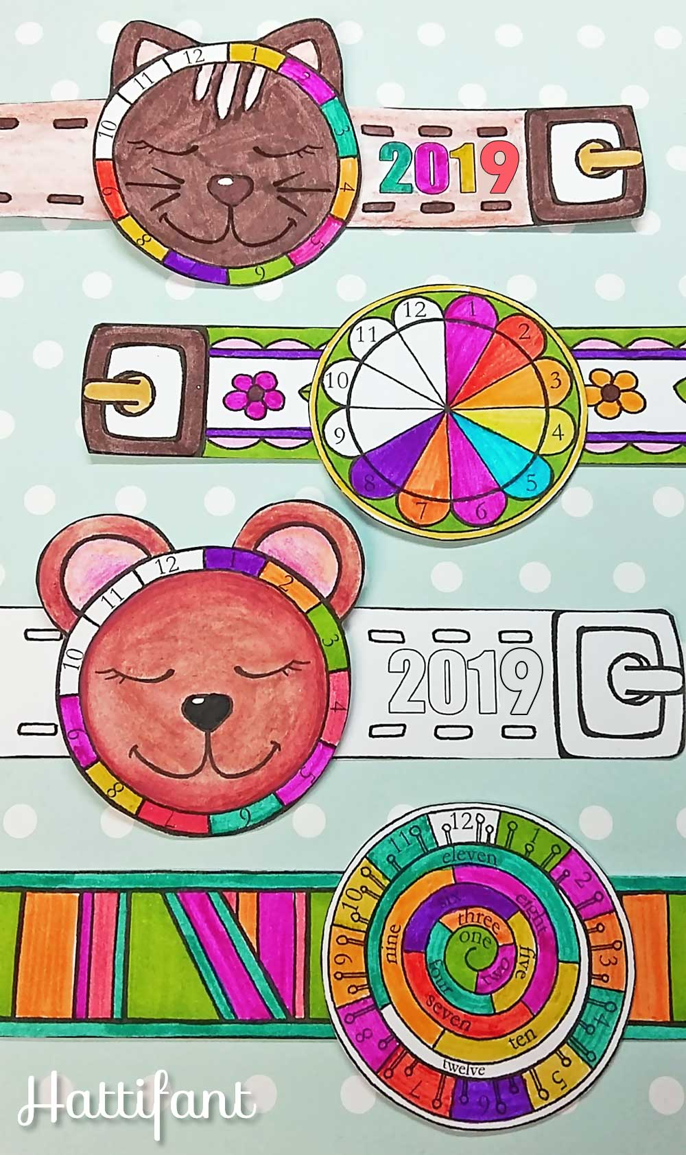 Hattifant's New Year Countdown Wristwatch Papercraft to color in 2019