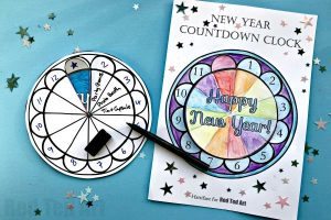 Red Ted Art's colored version of this New Year's Countdown Clock