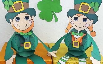Hattifant's St- Patricks Day Girl and Boy Leprechaun Shamrock Clover Paperball Puppet Triskele Paper Globe