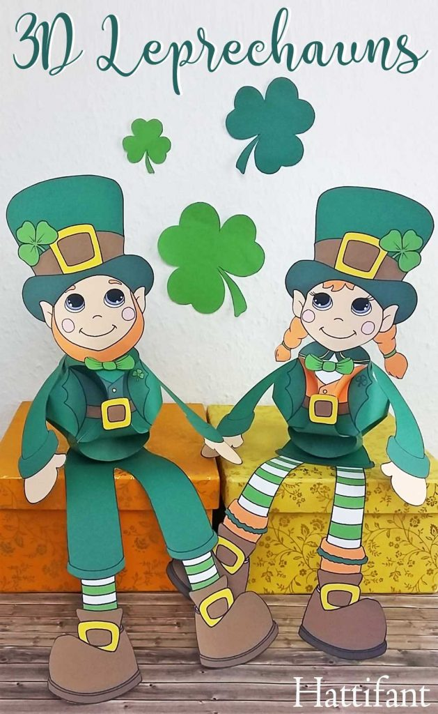 Hattifant's St- Patricks Day Girl and Boy Leprechaun Shamrock Clover Paperball Puppet Triskele Paper Globe