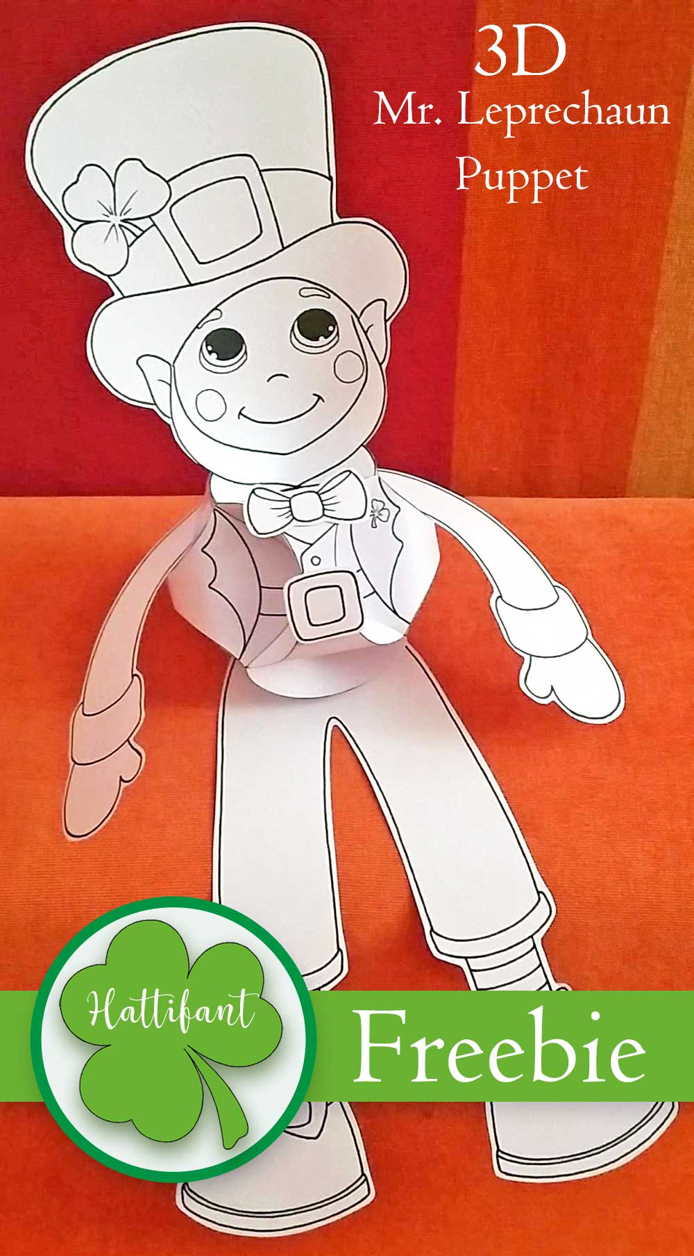 Hattifant's St- Patricks Day Girl and Boy Leprechaun Shamrock Clover Paperball Puppet Triskele Paper Globe Coloring In version Freebie