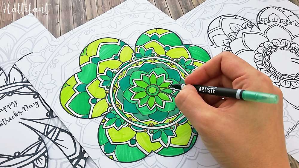 Hattifant's St. Patrick Mandala Shamrock Coloring Pages