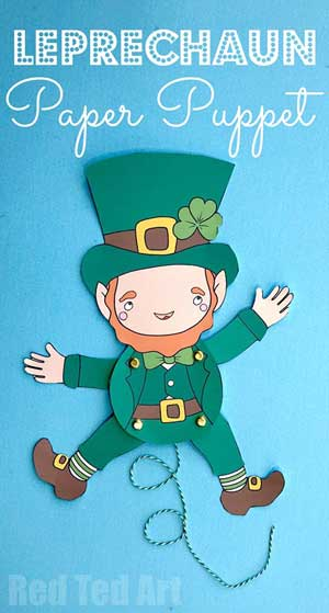 Hattifant's collboration with Red Ted Art for Leprechaun Paper Puppet St. Patricks Day
