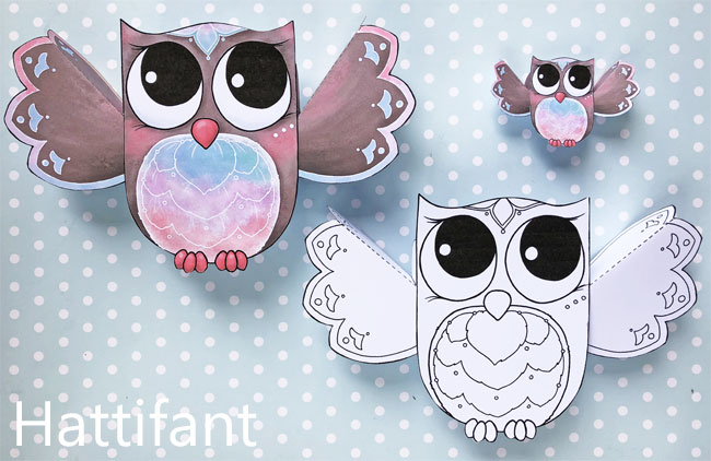 Hattifant's Owl Paper Toys to DIY Fluffy