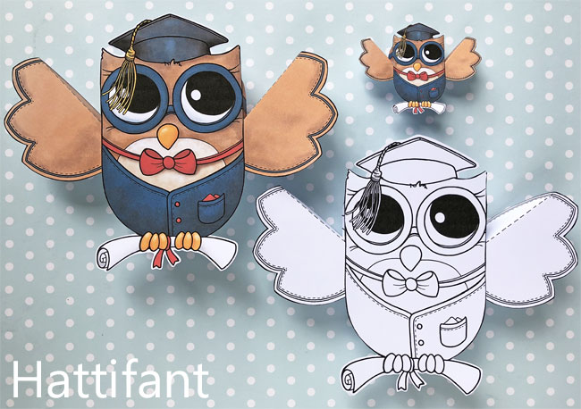 Hattifant's Owl Paper Toys to DIY Graduation