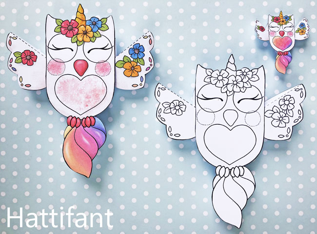 Hattifant's Owl Paper Toys to DIY Owlicorn