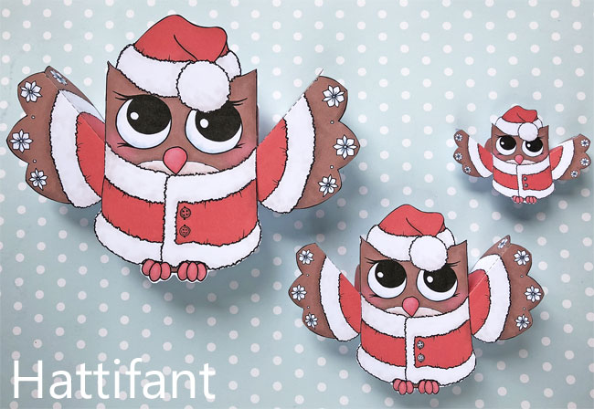 Hattifant's Owl Paper Toys to DIY Santa
