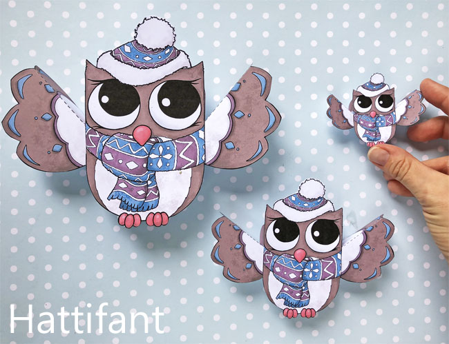 Hattifant's Owl Paper Toys to DIY Winter