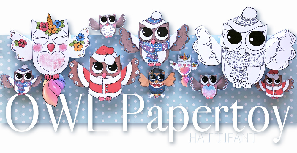Hattifant's Owl Paper Toys to DIY Graduation Winter Santa Unicorn owlicorn