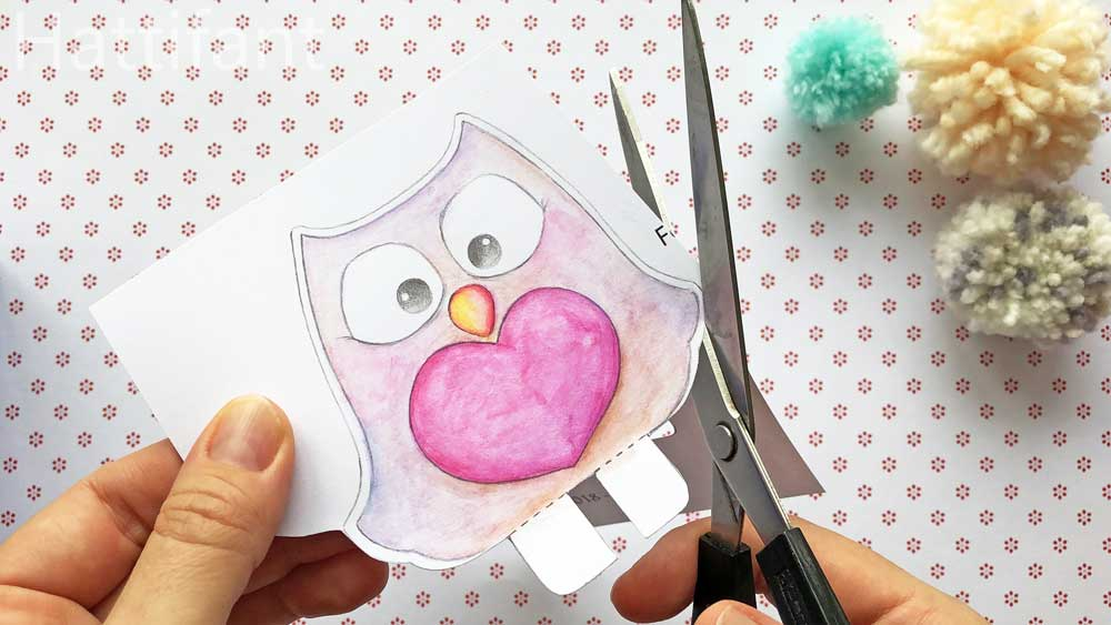 Hattifant's Pom Pom Mama & Baby Owls Paper Craft cutting