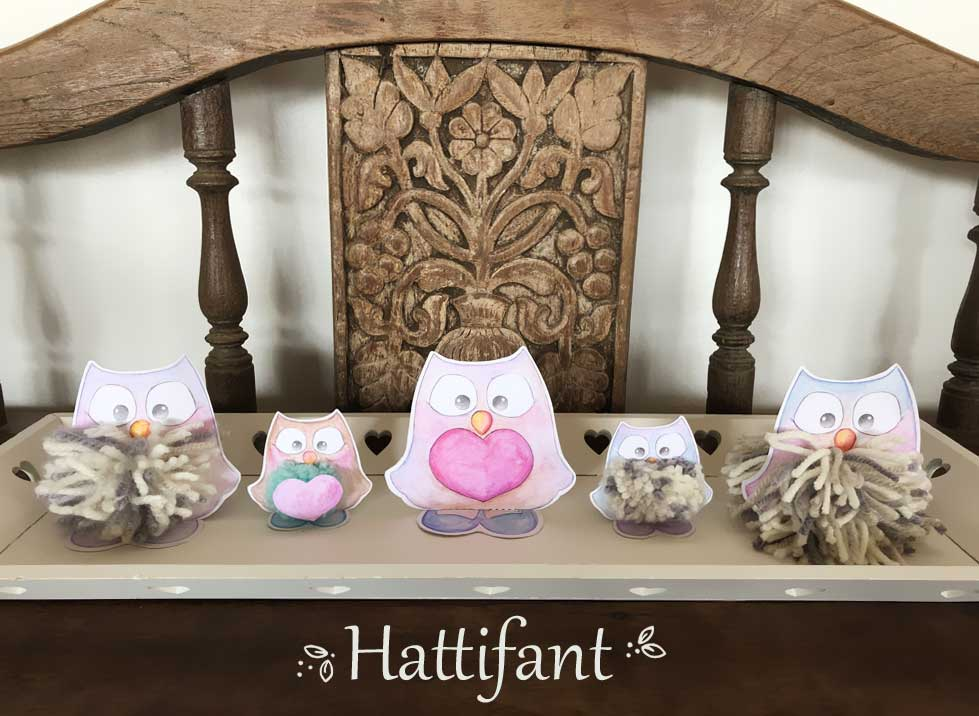 Hattifant's Pom Pom Mama & Baby Owls Paper Craft Ensemble
