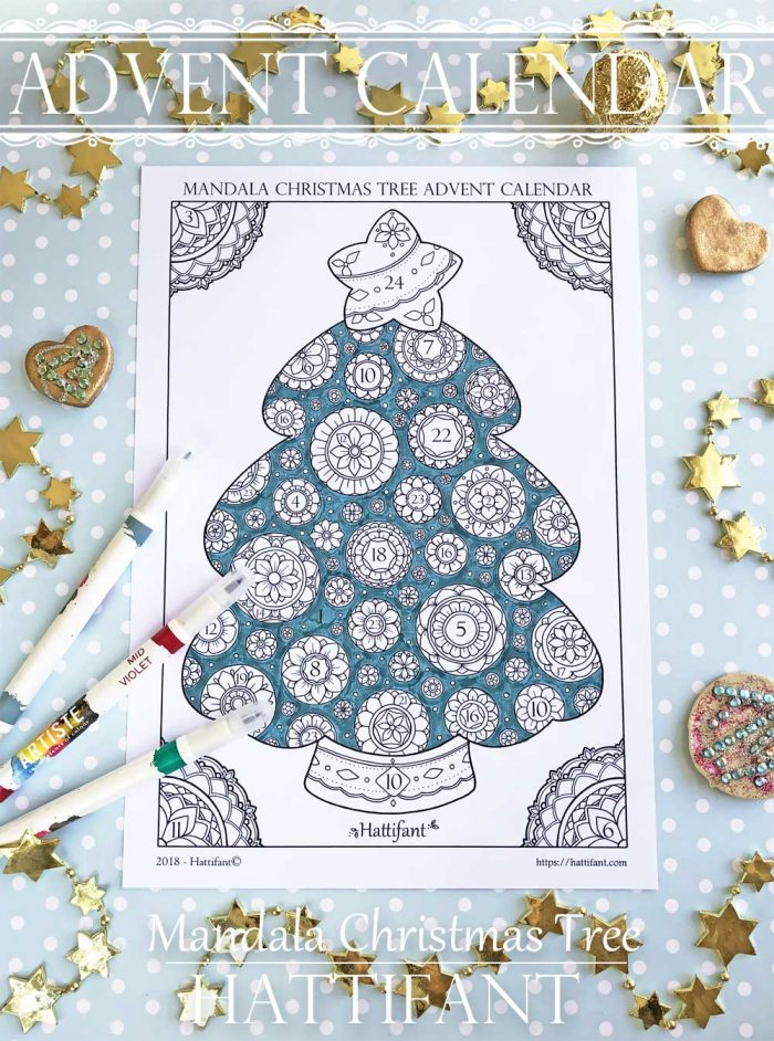 Hattifant's Advent Calendar Mandala Christmas Tree to Color
