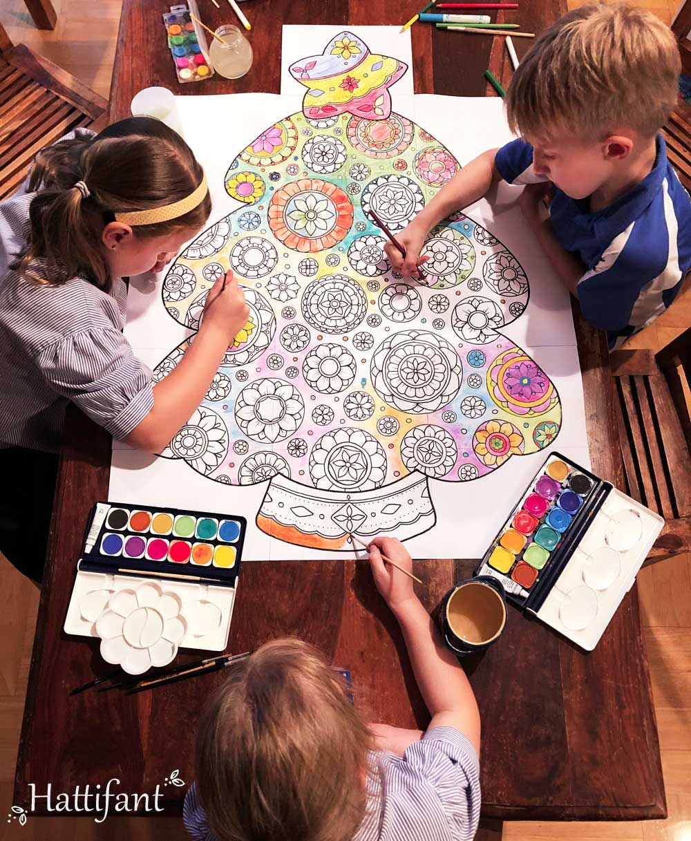 Hattifant's Giant Mandala Christmas Tree Poster to Color In kids coloring