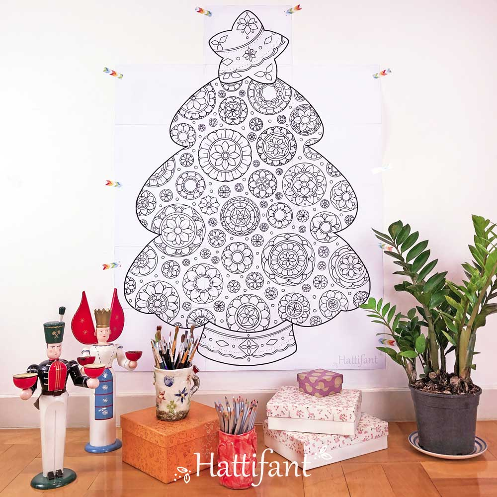 Hattifant's Giant Mandala Christmas Tree Poster to Color In
