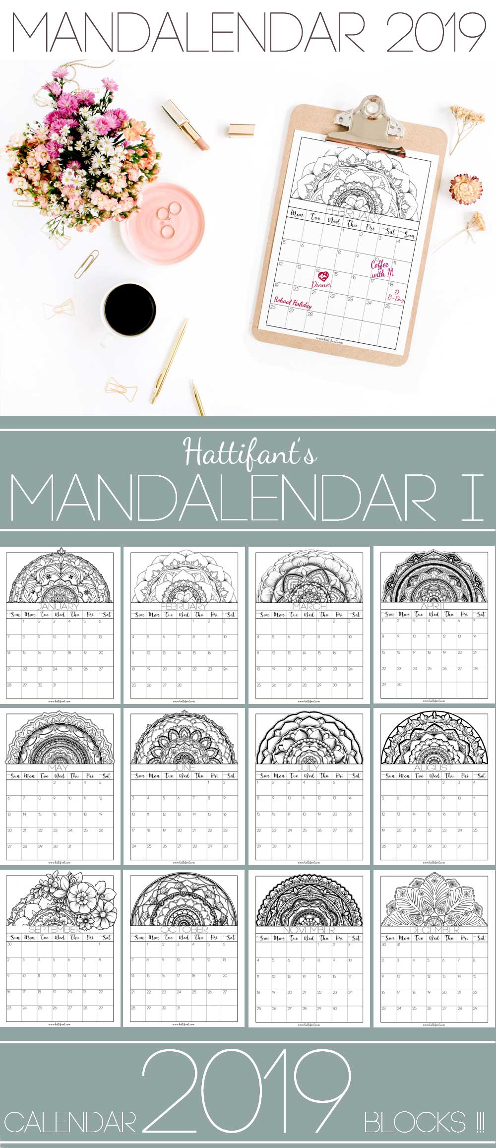 Hattifant's Mandalendar 2019 a Mandala Calendar to Color Block 1