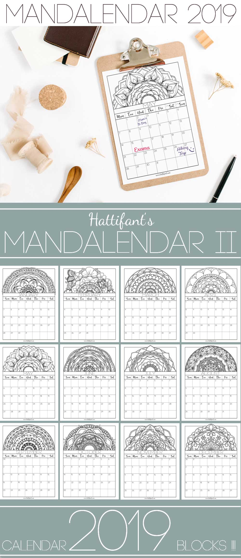 Hattifant's Mandalendar 2019 a Mandala Calendar to Color Block 2