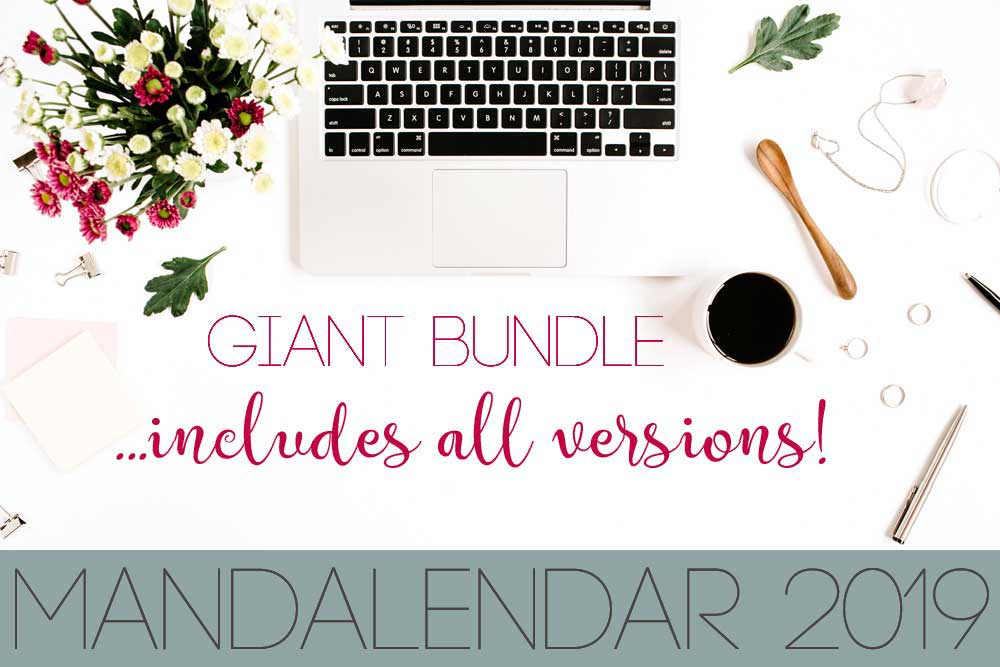 Hattifant's Mandalendar 2019 a Mandala Calendar to Color Giant Bundle option