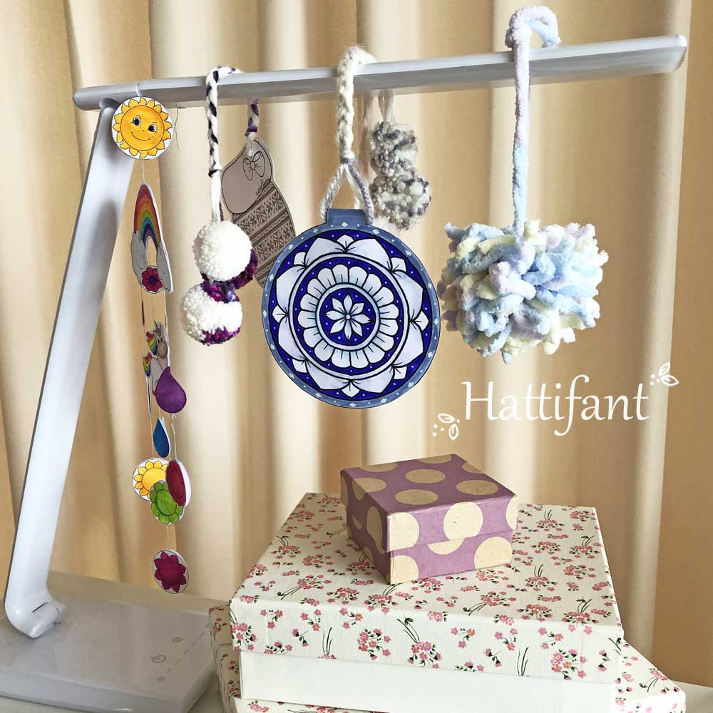 Hattifant's Mandala Pom Pom Bookmark and Ornament collection