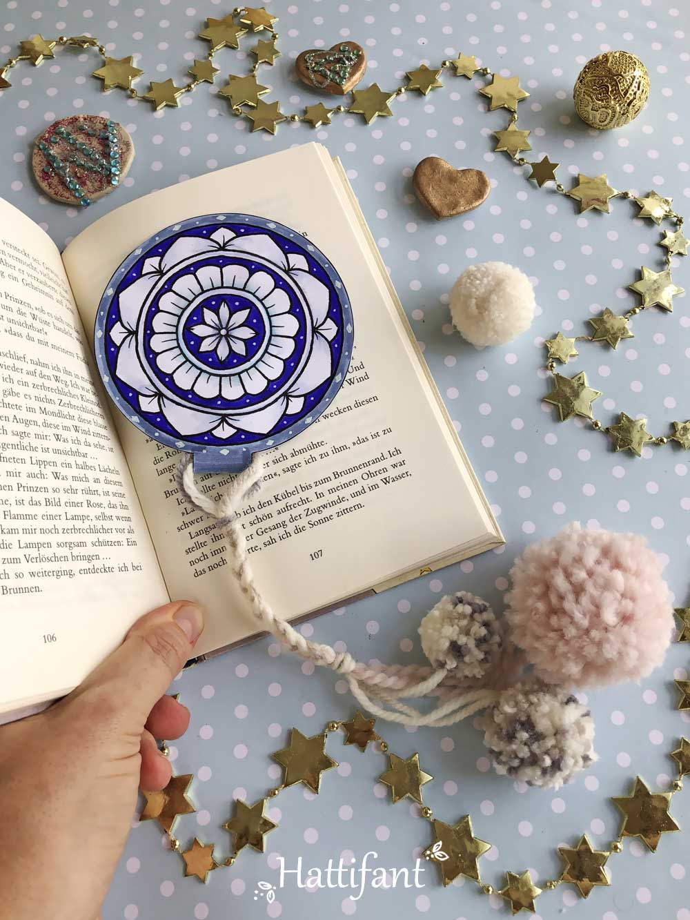 Hattifant's Mandala Pom Pom Bookmark and Ornament