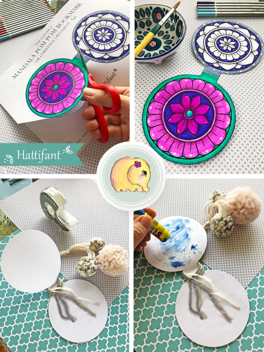 Hattifant's Mandala Pom Pom Bookmark and Ornament how to