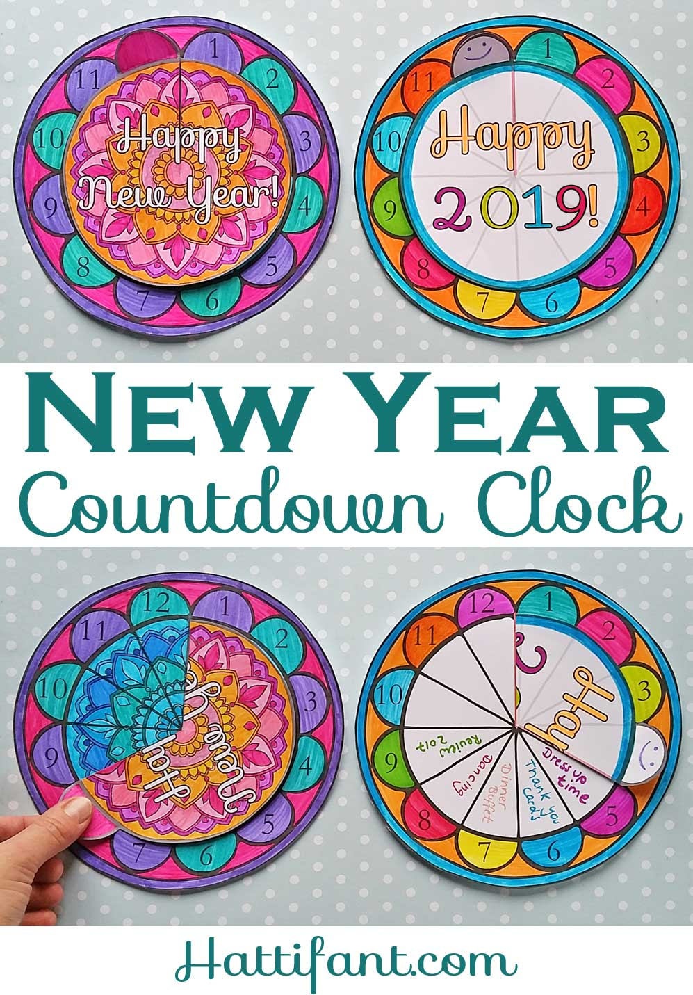 Hattifant's New Year Countdown Clock Paper and Coloring Craft