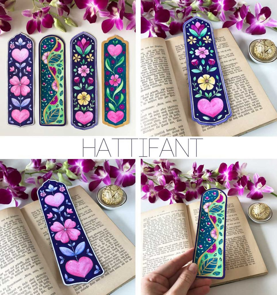Hattifant's Flower and Hearts Bookmarks ready for Valentine
