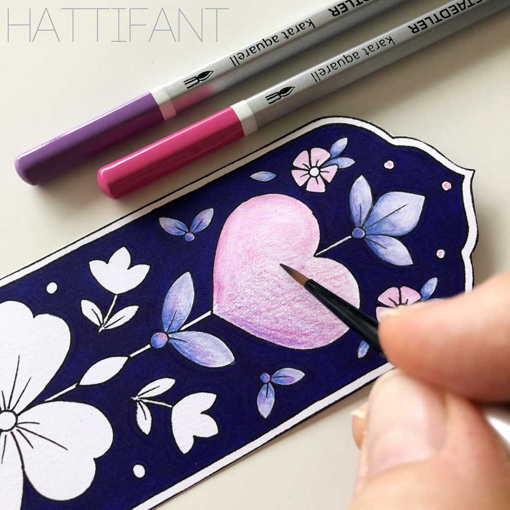 Hattifant's Flower and Hearts Bookmarks ready for Valentine Example for aquarell coloring pencils